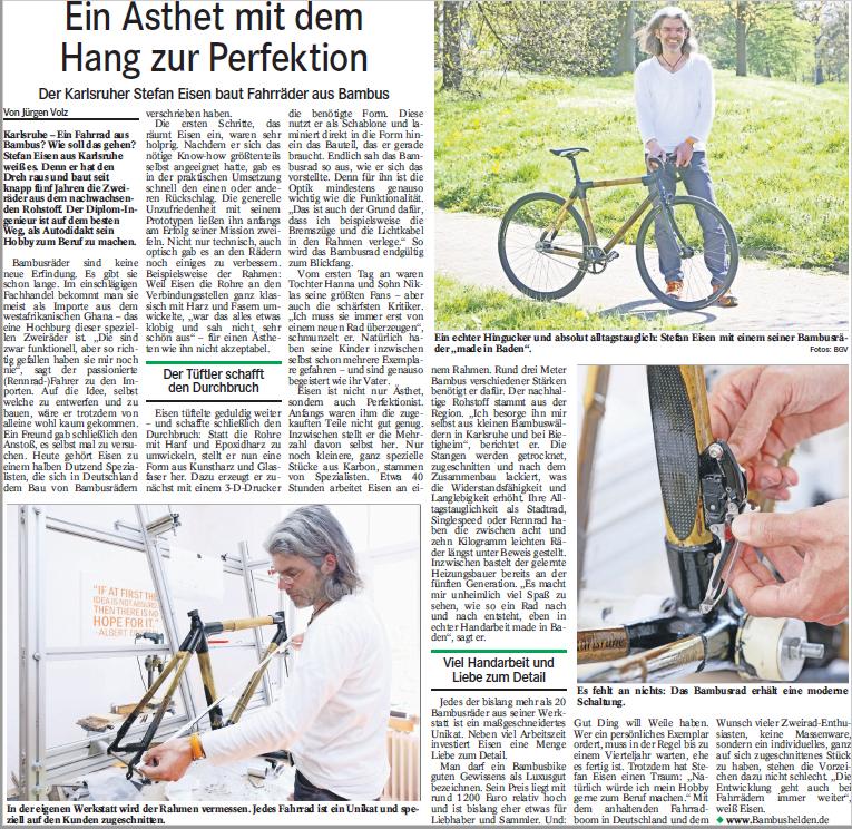 Bambusfahrrader Stefan Eisen Karlsruhe Bambus Rad Manufaktur